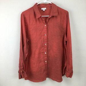 J. Jill Love Linen Medium Orange Button Up Blouse